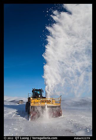 Snowplow with massive snow plume, Twelve Mile Summmit. Alaska, USA (color)