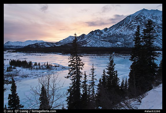 Winter sunset over Nenana River. Alaska, USA (color)