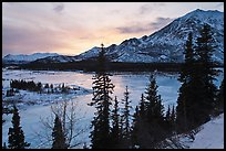 Winter sunset over Nenana River. Alaska, USA ( color)