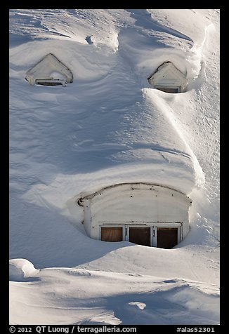 Windows on snow-covered roof. Alaska, USA (color)