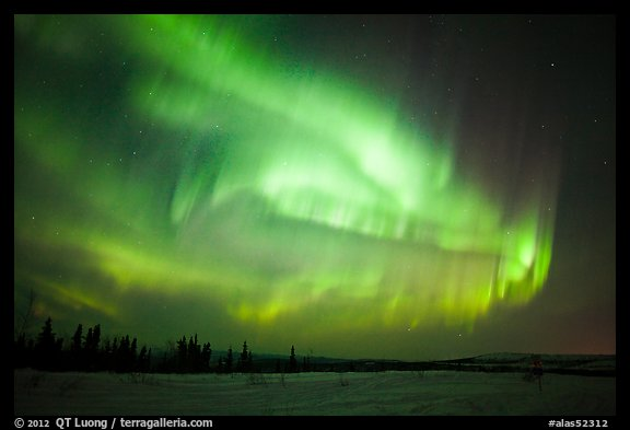 Magnetic storm in sky above snowy meadow. Alaska, USA (color)