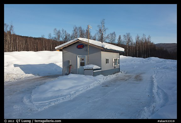 Drive-in coffee shop in isolated winter landscape. Alaska, USA (color)