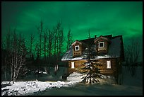 Cabin at night with Aurora Borealis. Wiseman, Alaska, USA ( color)
