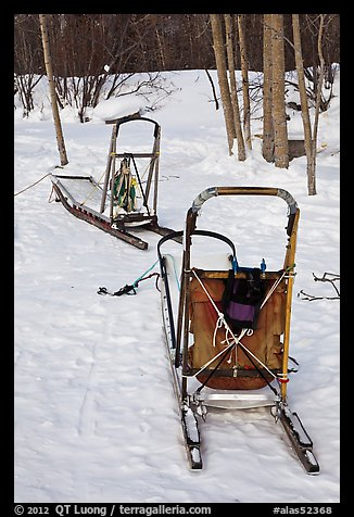 Sleds used for dog mushing. Wiseman, Alaska, USA