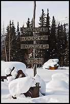 Signs in winter. Wiseman, Alaska, USA ( color)