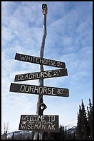 Welcome sign. Wiseman, Alaska, USA ( color)