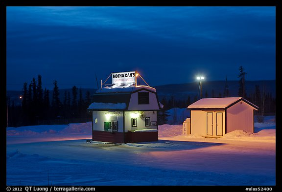 Drive-in coffee-shop night. Fairbanks, Alaska, USA (color)