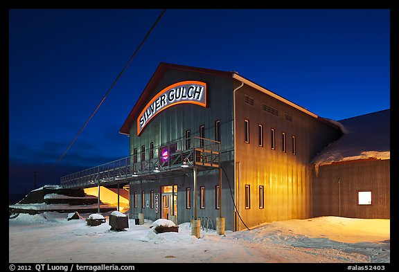 Silver Gulch brewery, winter night. Fairbanks, Alaska, USA (color)
