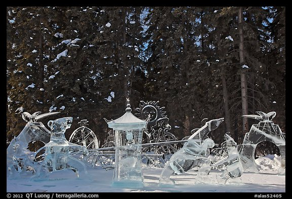 Ice scultpures, World Ice Art Championships. Fairbanks, Alaska, USA (color)