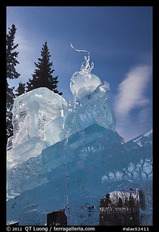 Massive locomotive ice sculpture at World Ice Art Championships. Fairbanks, Alaska, USA (color)