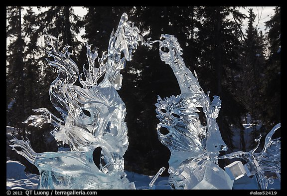 Delicate ice sculptures, World Ice Art Championships. Fairbanks, Alaska, USA (color)