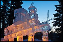 Illuminated locomotive ice sculpture, World Ice Art Championships. Fairbanks, Alaska, USA ( color)