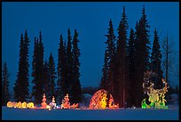 George Horner Ice Park at dusk, 2012 World Ice Art Championships. Fairbanks, Alaska, USA (color)
