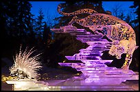 Prize winning multiblock ice sculpture at night, 2012 Ice Alaska. Fairbanks, Alaska, USA (color)