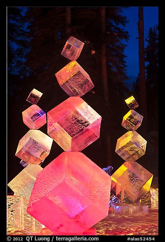 Balancing ice cubes with colored lights, 2012 Ice Alaska. Fairbanks, Alaska, USA (color)