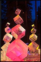 Balancing ice cubes with colored lights, 2012 Ice Alaska. Fairbanks, Alaska, USA ( color)