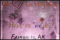 Welcome sign in ice, George Horner Ice Park. Fairbanks, Alaska, USA ( color)