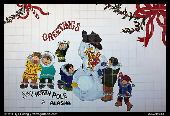 Greetings on mural. North Pole, Alaska, USA (color)