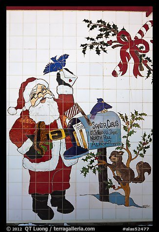 Santa Claus mural. North Pole, Alaska, USA (color)