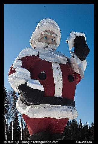 Giant Santa Claus statue. North Pole, Alaska, USA (color)