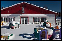 Playground in winter in front of day care. North Pole, Alaska, USA ( color)
