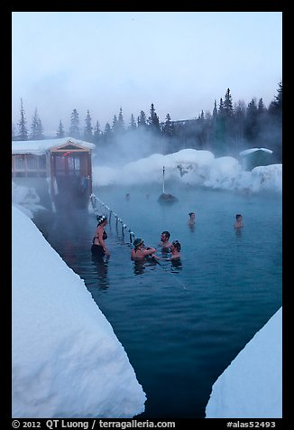 Natural hot springs in winter. Chena Hot Springs, Alaska, USA (color)