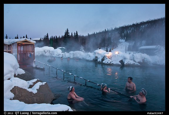 Rock Lake natural pool in winter. Chena Hot Springs, Alaska, USA (color)