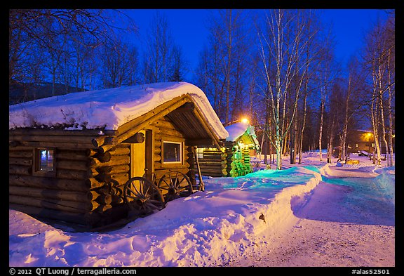 Picture Photo Path In Snow And Cabins At Night Chena Hot