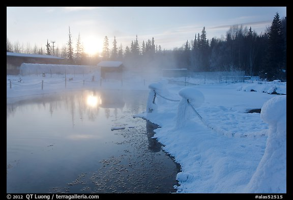 Pond of warm water at sunrise. Chena Hot Springs, Alaska, USA (color)