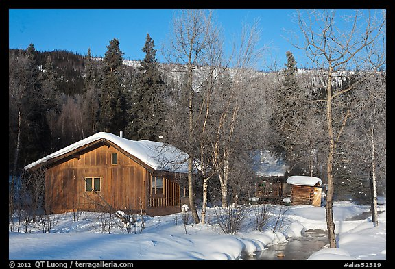 Resort cabins in winter. Chena Hot Springs, Alaska, USA (color)