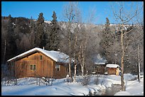 Resort cabins in winter. Chena Hot Springs, Alaska, USA ( color)