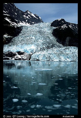 Cascade glacier dropping into Harriman  Fjord. Prince William Sound, Alaska, USA (color)