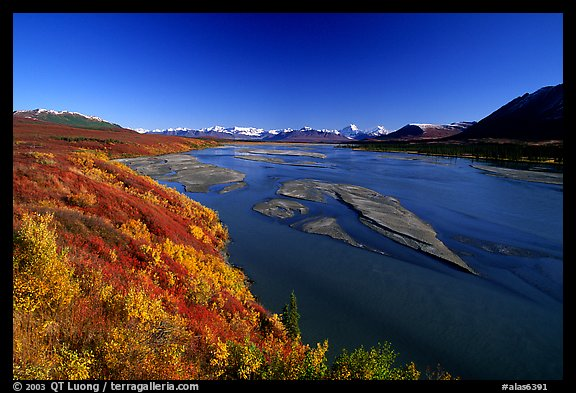 Wide river and autumn colors on the tundra. Alaska, USA (color)
