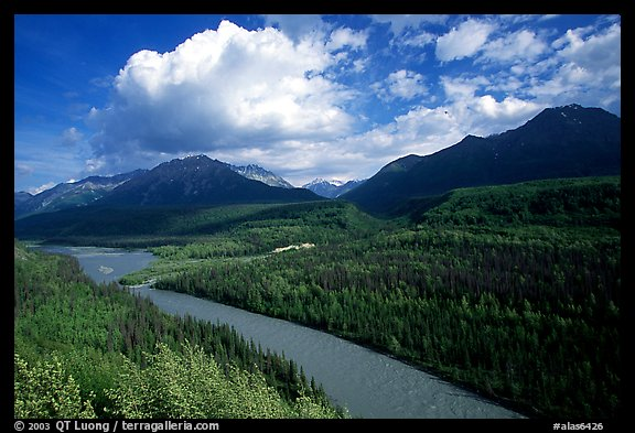 Matanuska River and Chugach mountains in summer, afternoon. Alaska, USA (color)
