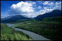 Matanuska River and Chugach mountains in summer, afternoon. Alaska, USA ( color)