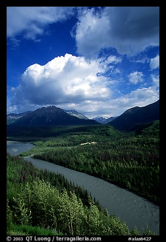 Matanuska River and Chugach mountains in summer. Alaska, USA (color)