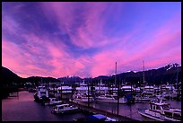 Seward harbor at sunset. Seward, Alaska, USA ( color)