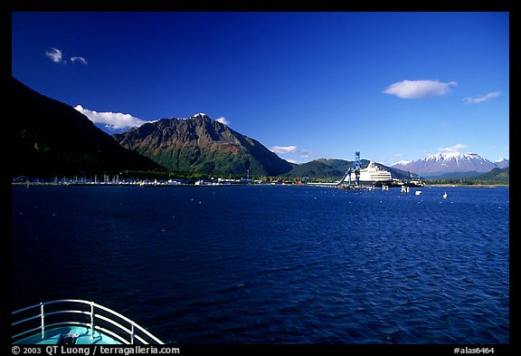 Seward seen from the deck of a ship on Resurection Bay. Seward, Alaska, USA (color)