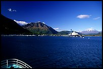 Seward seen from the deck of a ship on Resurection Bay. Seward, Alaska, USA ( color)