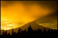 Last sun rays over  Mount Shasta. California, USA (color)
