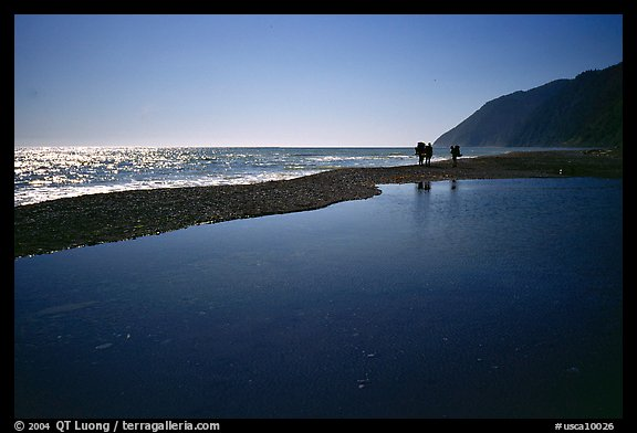 Pool and hikers, Lost Coast. California, USA (color)