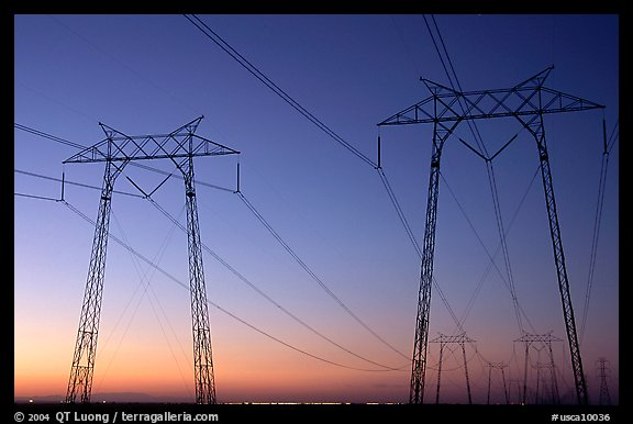 High tension power lines at sunset. California, USA (color)