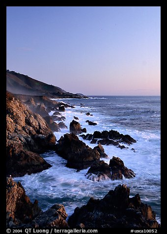 Surf and rocks at sunset, Garapata State Park. Big Sur, California, USA (color)