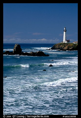 Surf and Pigeon Point Lighthouse, morning. San Mateo County, California, USA (color)