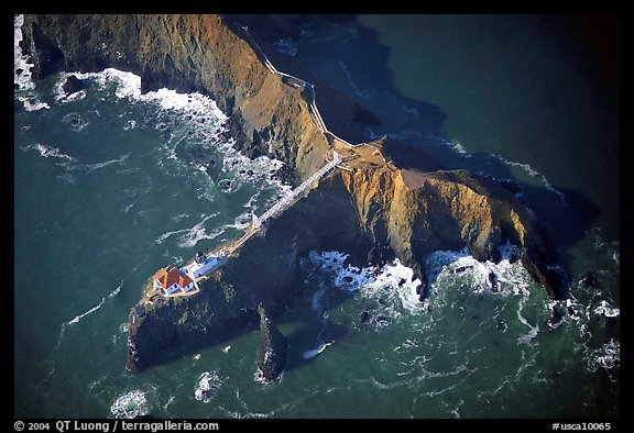 Aerial view of Bonita Lighthouse. California, USA (color)