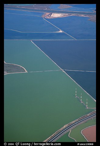 Aerial view of marsh patches in the South Bay. Redwood City,  California, USA (color)