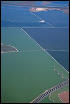 Aerial view of marsh patches in the South Bay. Redwood City,  California, USA ( color)