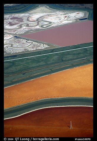 Aerial view of marsh patches. Redwood City,  California, USA (color)