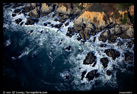 Aerial view of surf and rock. San Mateo County, California, USA (color)