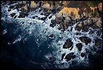 Aerial view of surf and rock. San Mateo County, California, USA ( color)